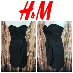 🆕 H&M Black Sweetheat Strapless Tulip Hem Dress